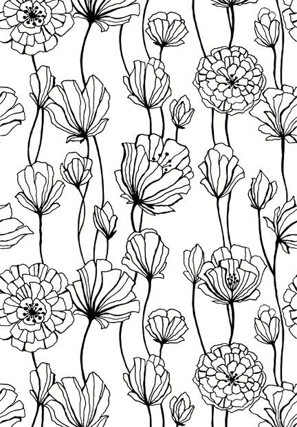 floral black and white ~
