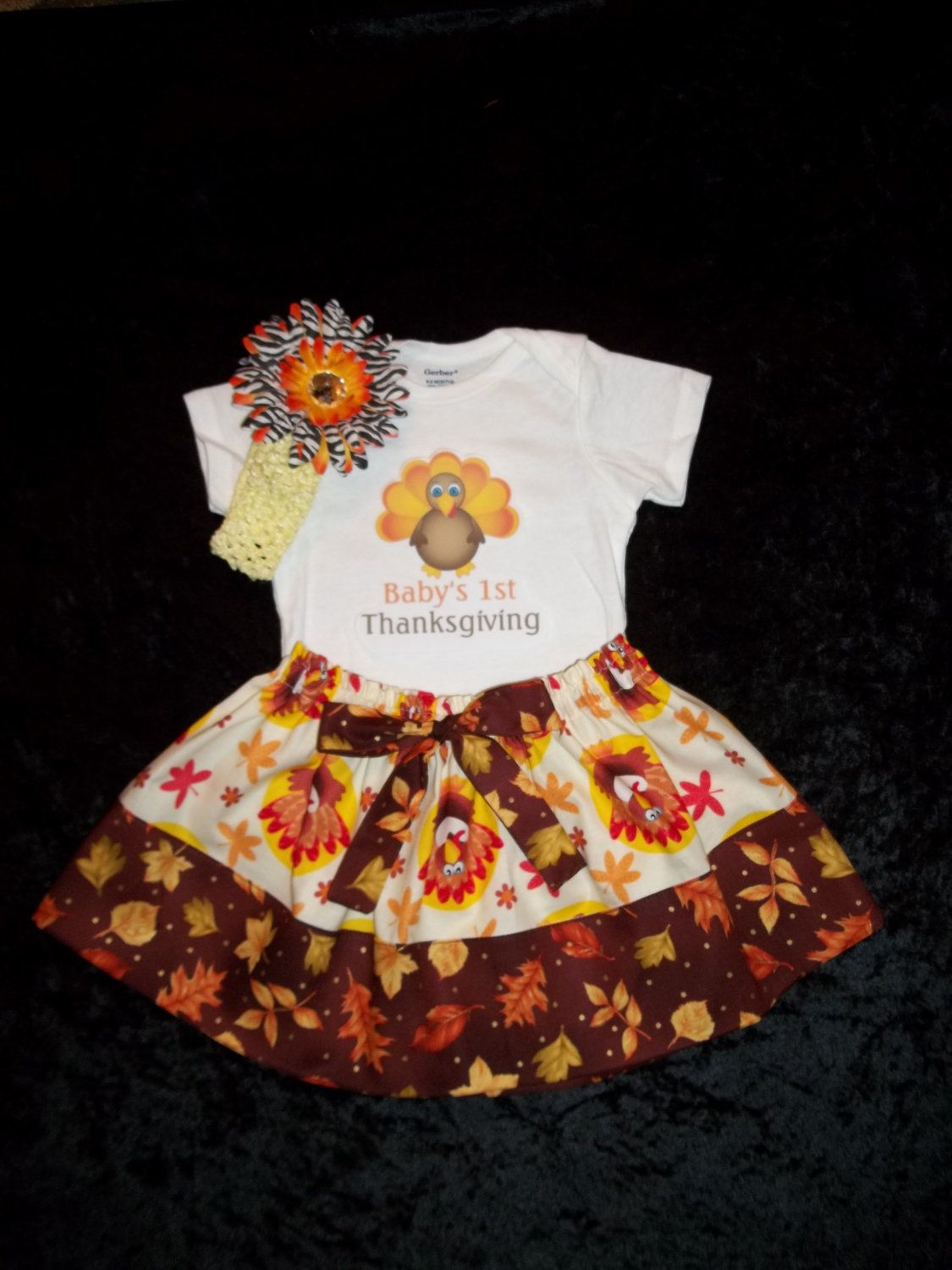 Yellow dress 3-6 months  personalized st thanksgiving onesie baby skirt outfit turkey day