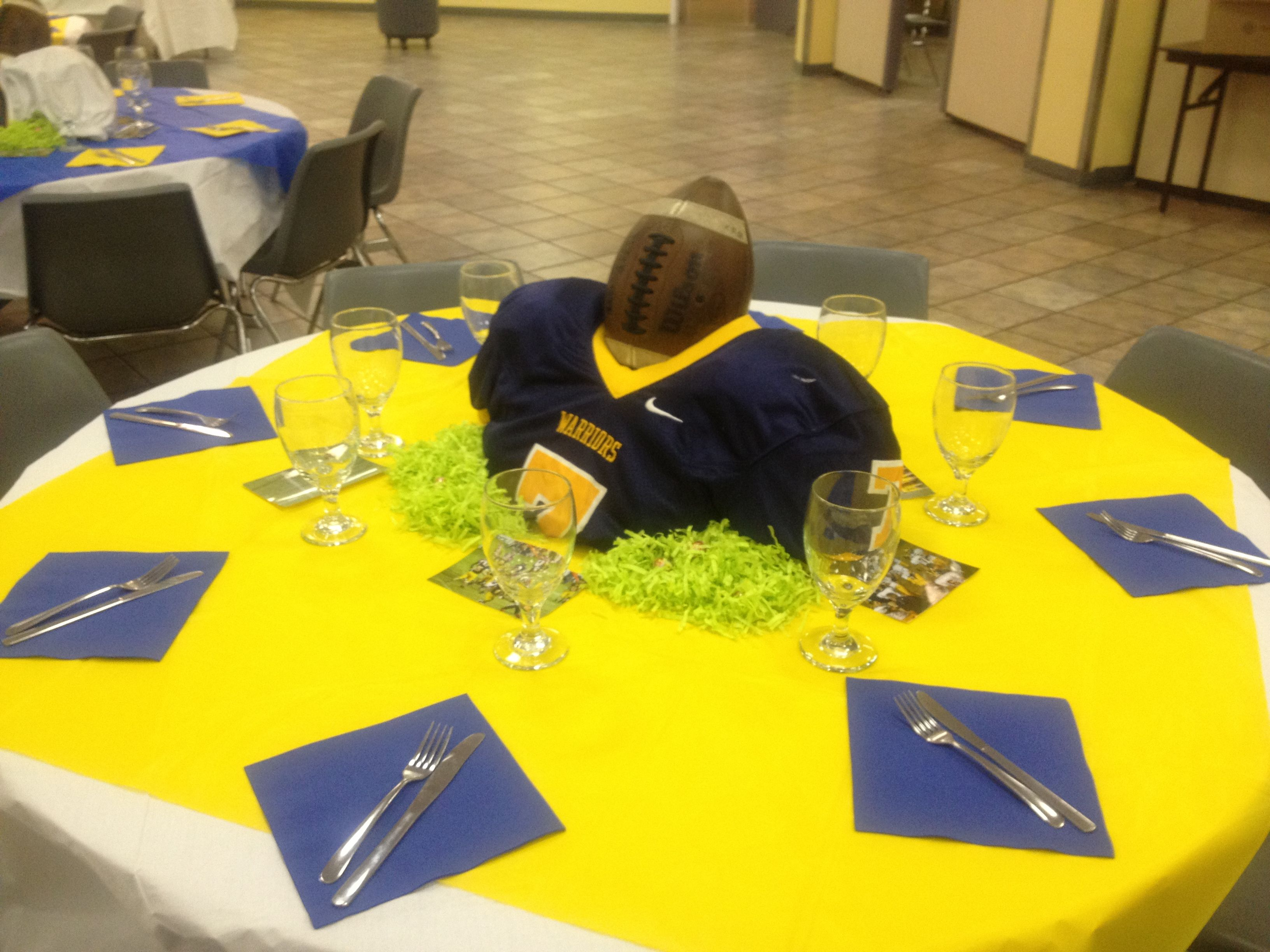 Football centerpiece sports theme graduation party
