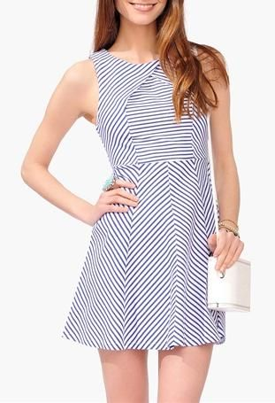 Nautical blue and white striped dress