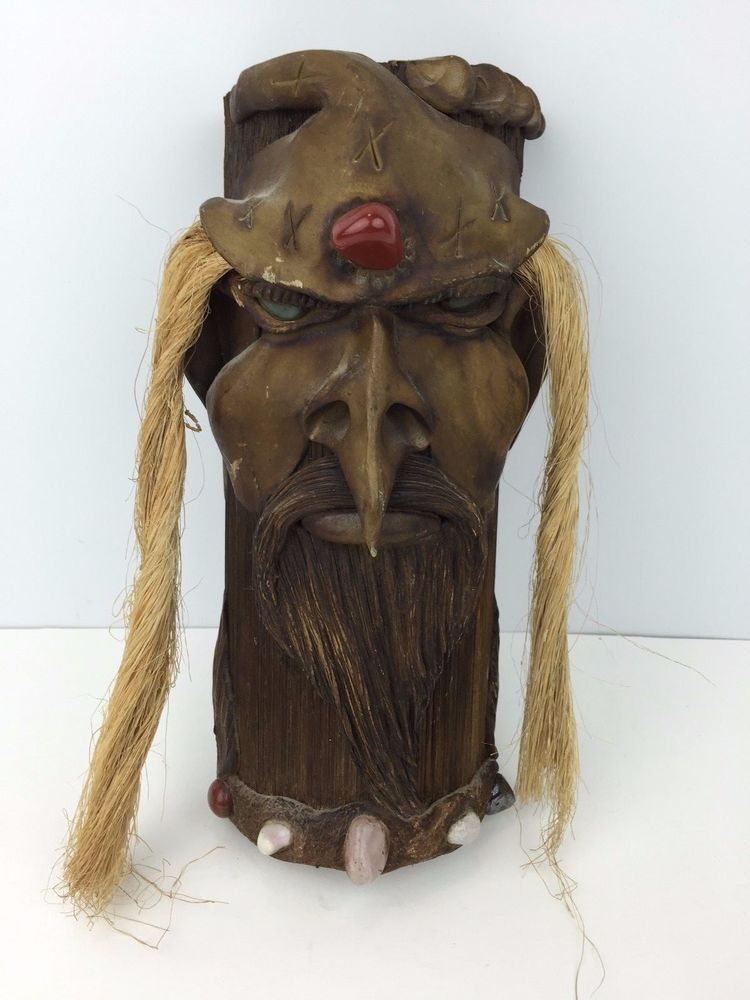Carved Wood African Style Mask Wizard With Stone Eyes Hair Wall Decor Unique