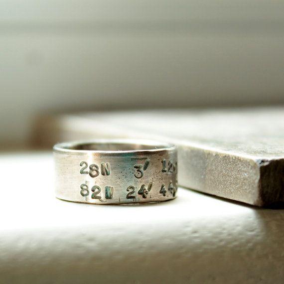 Silver Latitude Longitude Band Mens Ring by tinahdee on Etsy, $100.00