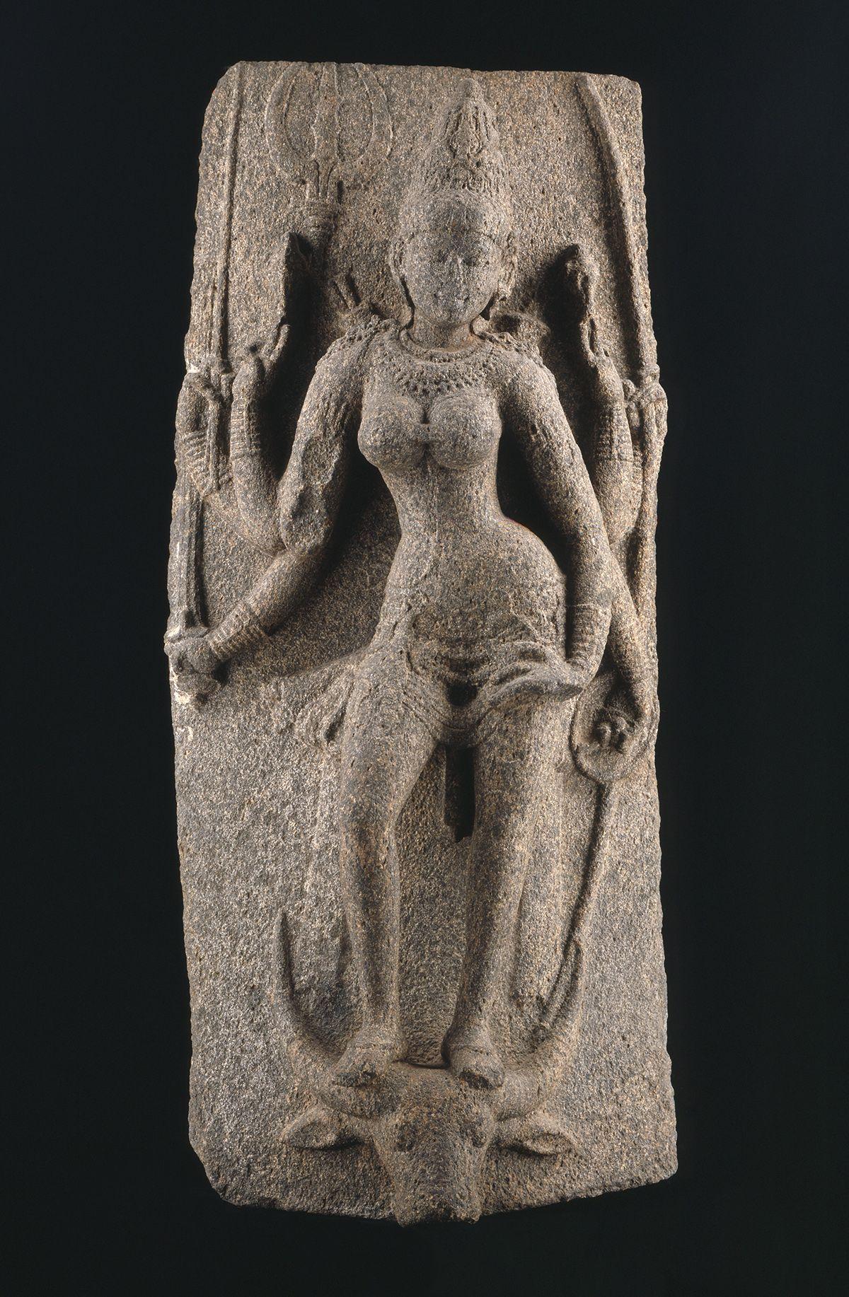Mahishasuramardini Durga, Pallava art from Tamil Nadu