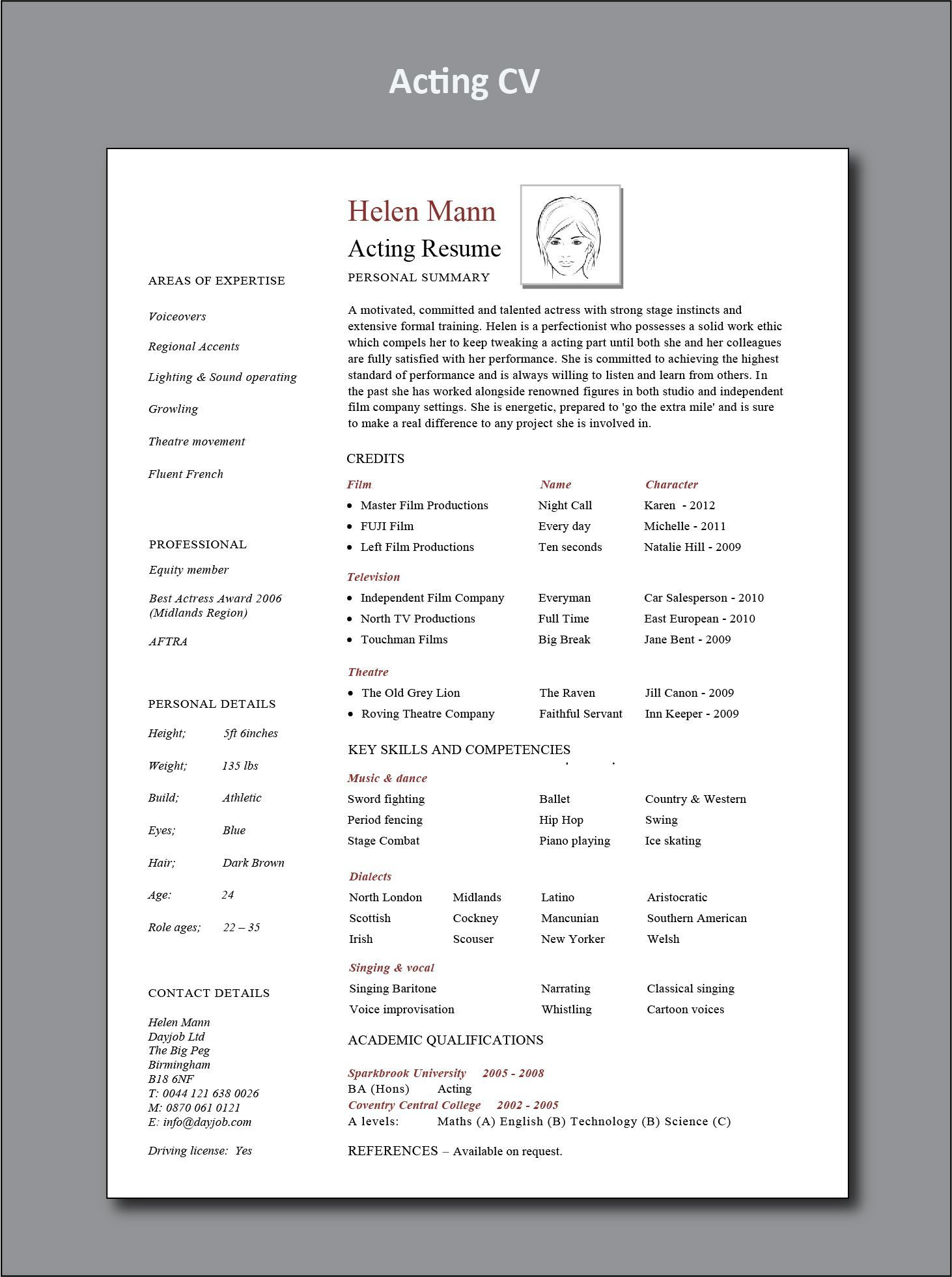 Acting CV example, resume, for beginners, download