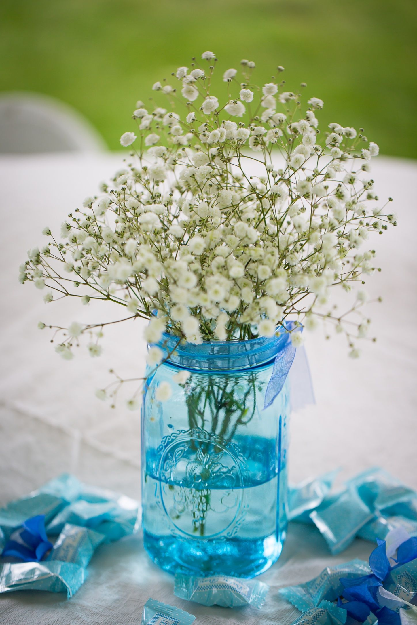It S A Boy Baby Shower Blue Mason Jar Centerpiece Baby S Breath Baby Shower Table Tribal Baby Shower Mint Baby Shower Babys Breath Centerpiece Mason Jar