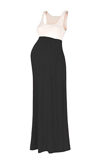 43c27c1da2529 Beachcoco Women's Maternity Contrast Maxi Tank Dress (S, Ivory / Black) Nun  Costume