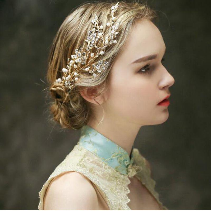 1a47d9fe240e Cheap Romantico della perla nuziale capelli pettine foglie d oro accessori  per capelli da sposa