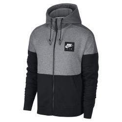 sudadera nike nsw av15 hoodie fz flc grey-black