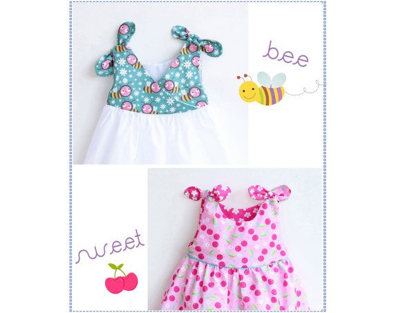 BEE SWEET Baby Girl Dress pattern Pdf sewing, Overall Knotted Dress ...