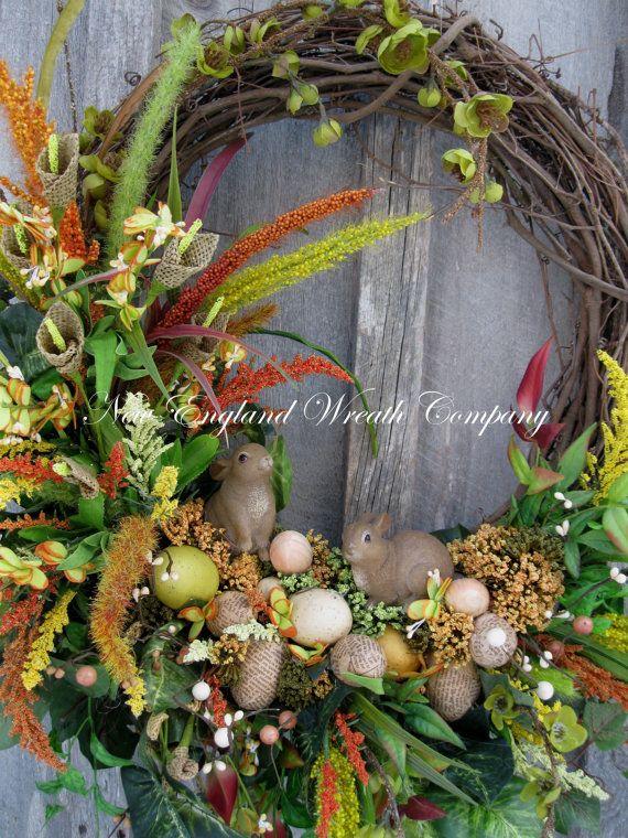 Easter Wreath, Spring Wreath, Bunnies, Eggs, Designer Wreath