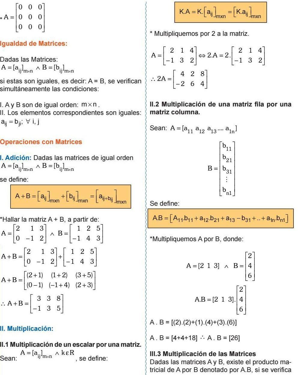 Igualdad De Matrices Operaciones Con Matrices Graficas Matematicas Lecciones De Matematicas Secundaria Matematicas