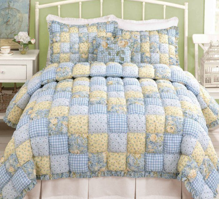 Puff Quilt Full Queen Or King Set Cottage Blue Yellow Plaid