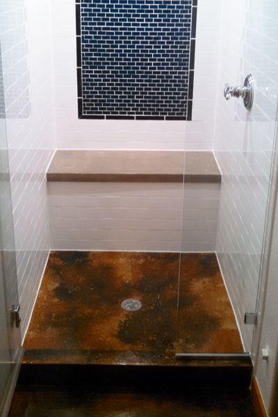 Cement Shower Stall | Stained Concrete Shower Floor / Pan / Stall