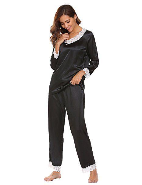 7c25e3bc0ff4d5 ADOME Damen Lang Schlafanzug Satin Pyjamas Langarm Zweiteiliger Spitze  V-Asuschnitt: - pyjama pyjamas frauen unterwäsche pyjama… | Pyjama Trends  Frauen in ...