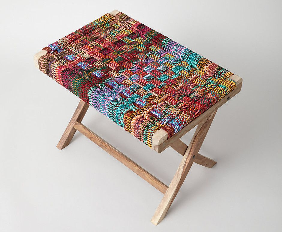 Hand Crafted Folding Table Made Of Reclaimed Sheessam Wood And Woven With  Colorful Recycled Cotton Rope Steven Alan