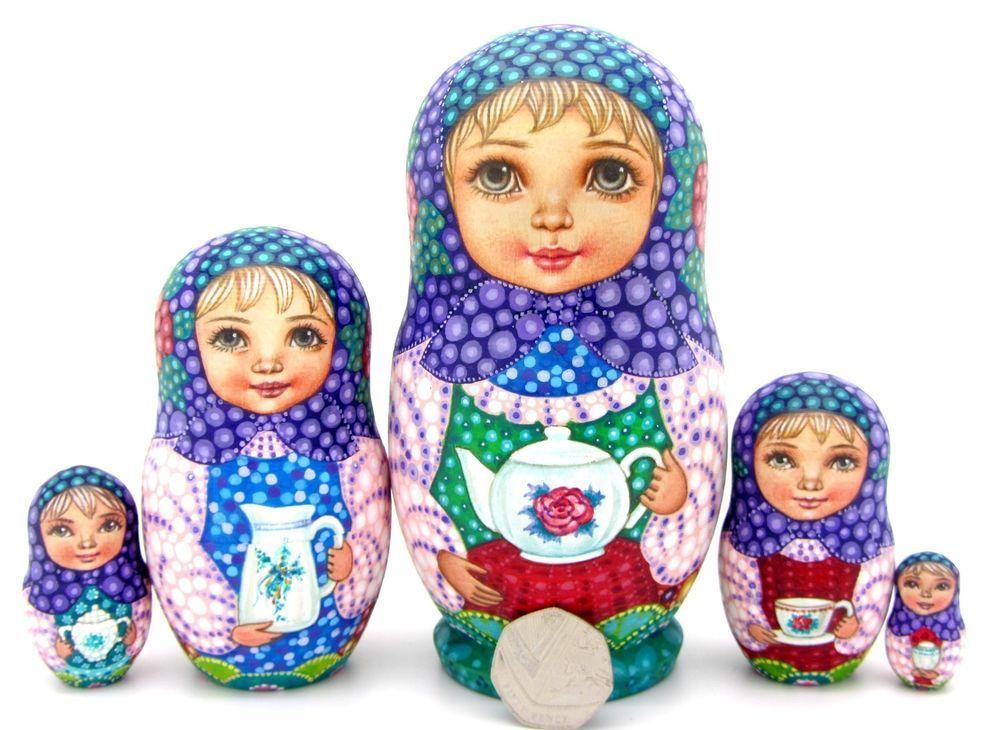Genuine Russian Dolls 5 Girls SOKIRKINA HAND PAINTED MATT Tea Drinking BABUSHKA