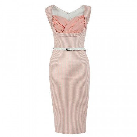 Vanessa Candy Pink Stripe Wiggle Dress In 2020 Vintage