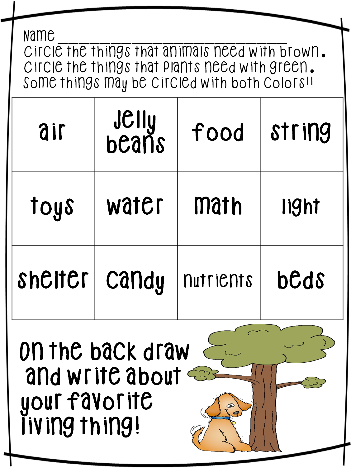 First Grade Wow Living Nonliving