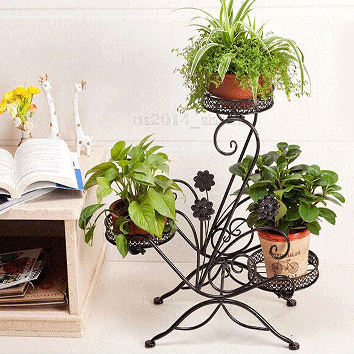 Metal Plant Flower Herb Display Stand Shelf Storage Rack Outdoor 3 Tier  Holder