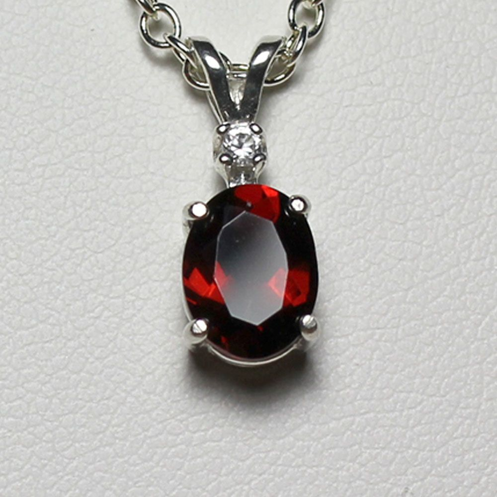 Natural Garnet Sterling Silver Sapphire Pendant / Necklace