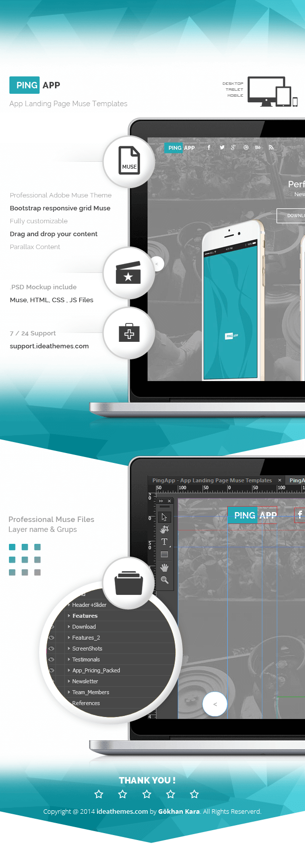 PingApp One Page Parallax Muse Theme First page