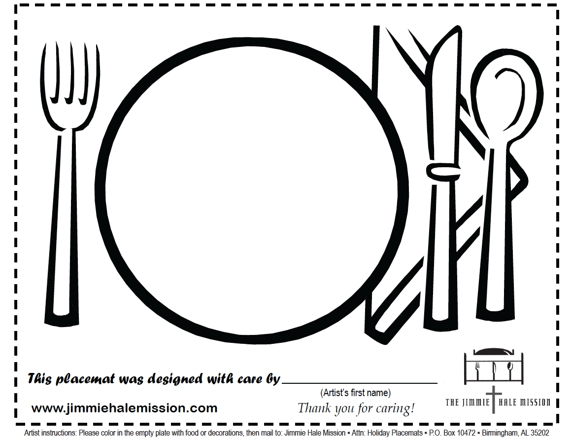 Jimmie Hale Project Placemats Download Color Amp Mail In