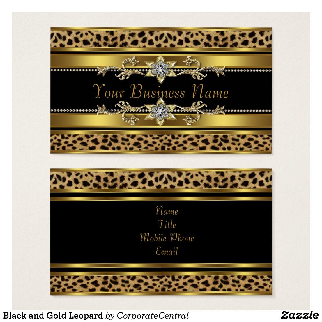 Black and Gold Leopard Business Card | Beauty Business | Pinterest ...