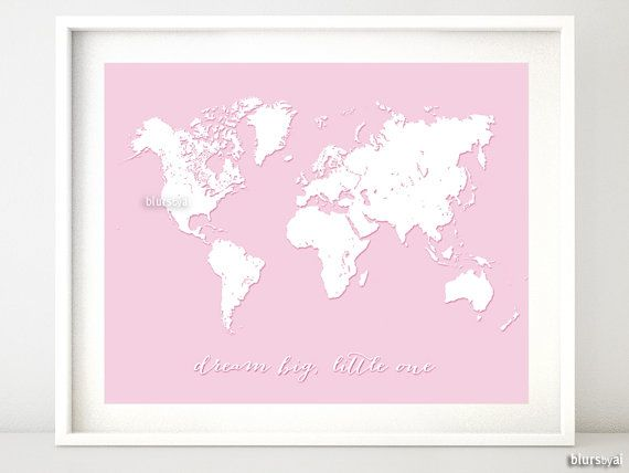 Custom quote color size world map print nursery map custom quote color size world map print nursery map printable art sciox Image collections