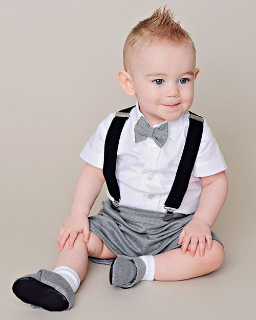 christening outfit baby boy navy blue suspender shorts  white linen shirt bow tie christening outfit boy babtism outfit boy linen baby shirt