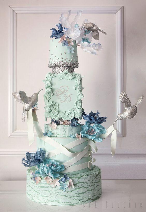 Unique Blue Flower Detailed Pale Green Wedding Cake #amazingcakes