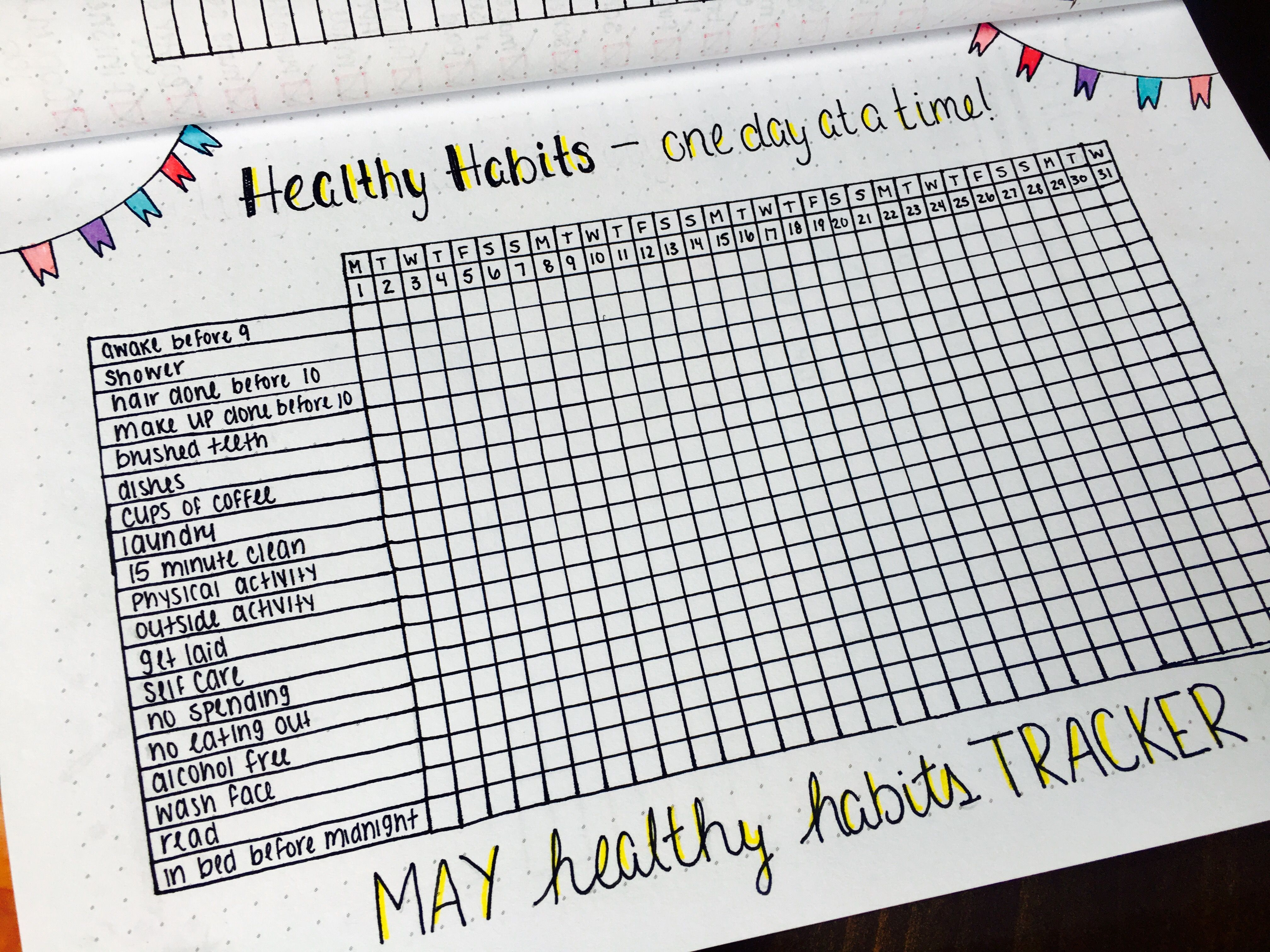 Healthy Habits Tracker For My Bullet Journal So Excited