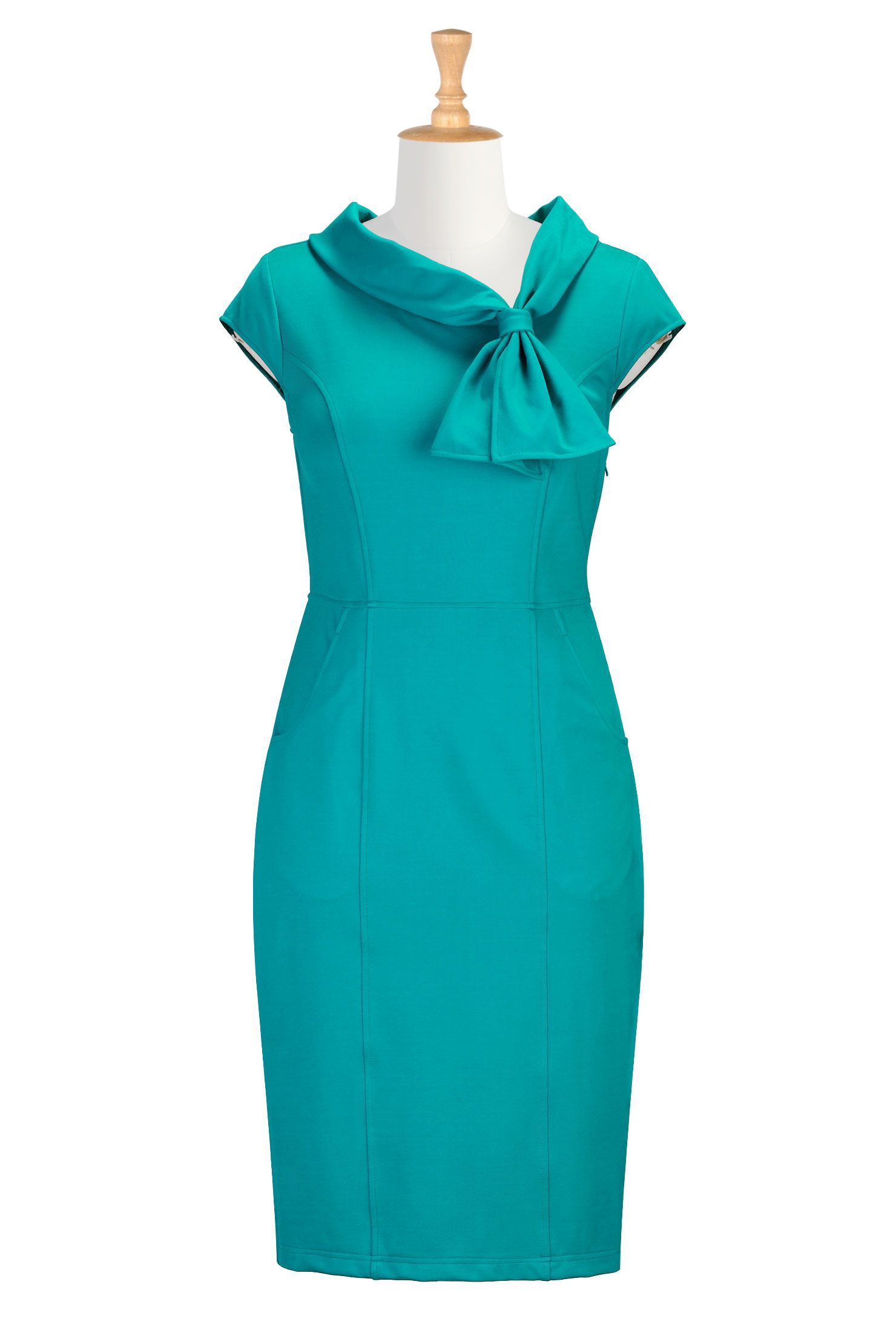 Cowl collar with ties ponte dress | Retro dress, Fashion clothes and ...