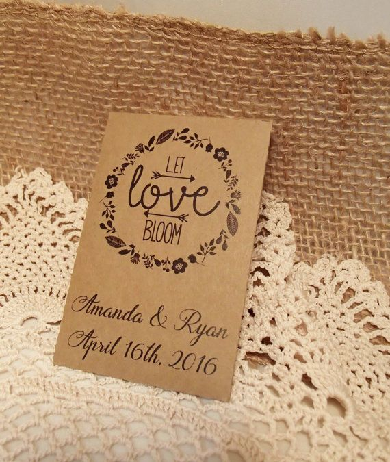 20 Custom Seed Packet Wedding Favor Let Love Bloom Personalized Favour Envelope DIY Seeds Herbs Flower Fill Your Own