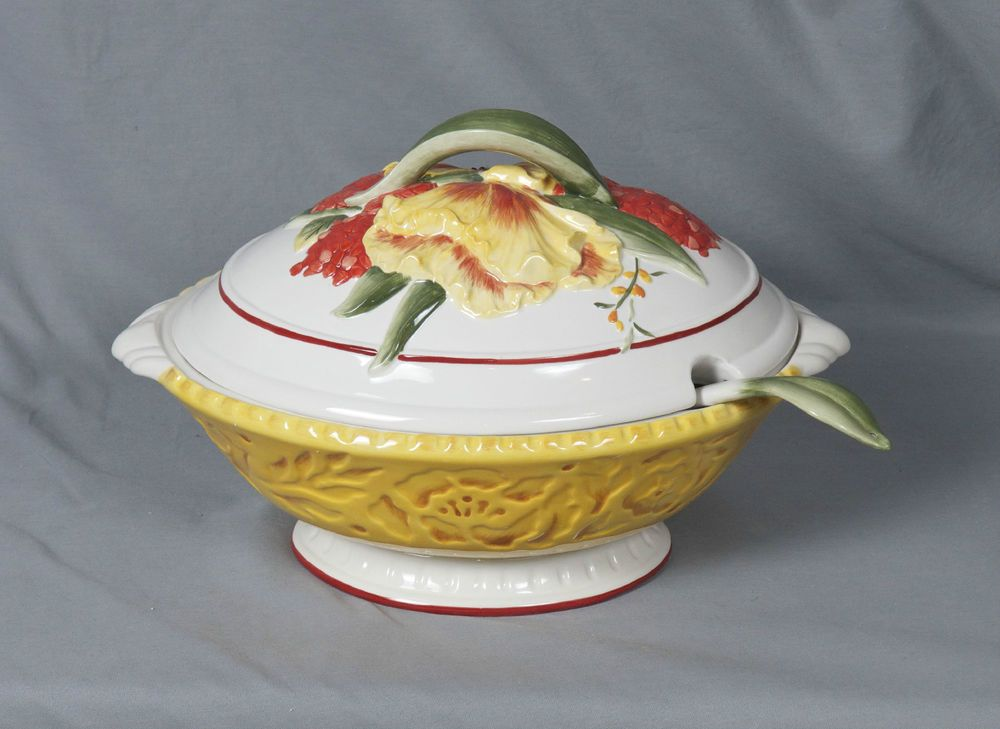 Fitz and Floyd Flower Market Tureen With Ladle 112 oz NIB #FitzFloyd