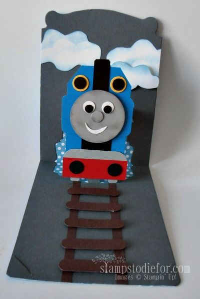 I Made This Card For Our Grandson S 2nd Birthday He Loves Thomas The Train And He Carried His Card Aro Kids Birthday Cards Birthday Cards For Boys Punch Cards