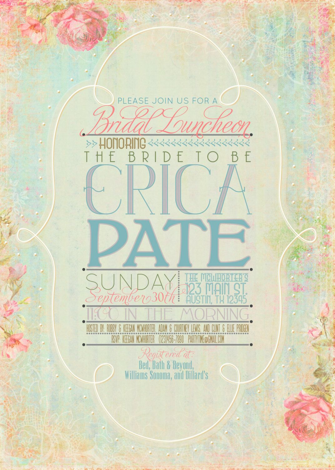 A beautiful, romantic vintage-inspired invitation perfect for a garden party, bridal or baby shower, or tea party.