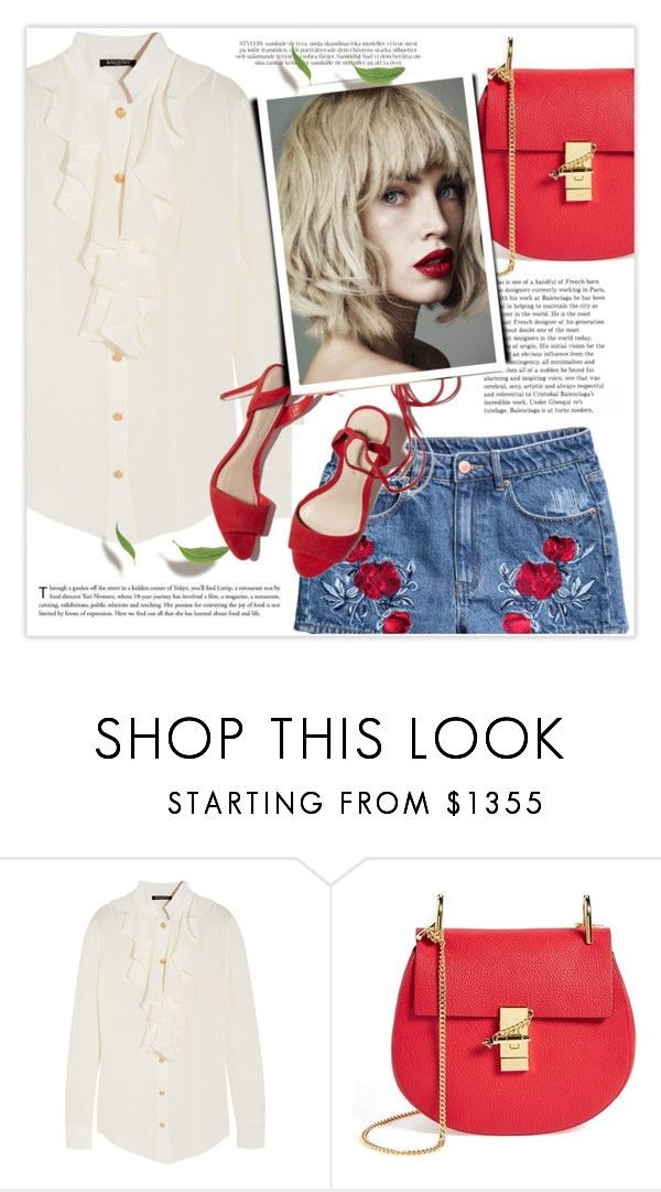 """""""10.08.2016"""" by bliznec-anna ❤ liked on Polyvore featuring Balmain, Chloé, H&M, Yves Saint Laurent, Loeffler Randall, polyvoreeditorial and polyvorefashion"""