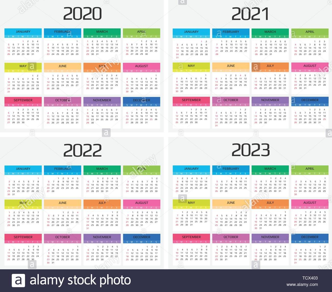 Download This Stock Vector Calendar 2020 2021 2022 2023 Template 12 Months Include Holiday Event Week Starts Holidays And Events Calendar Calendar 2020