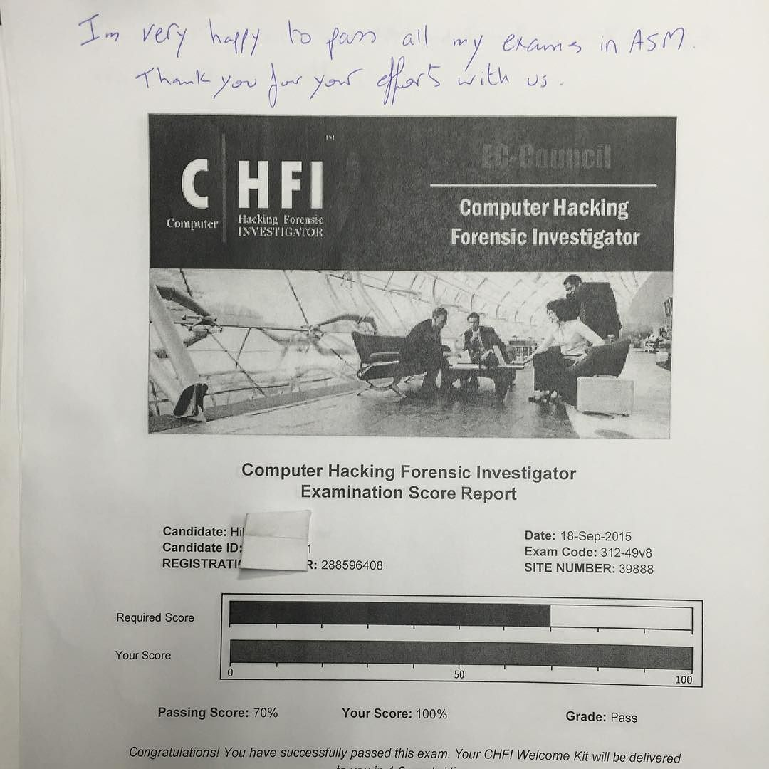 We Are Proud Of Our Student Who Passed Their Eccouncil Chfi Exam