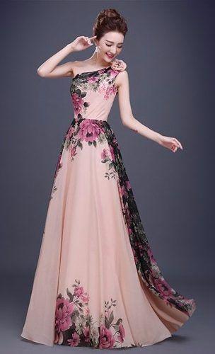 f3061a42f893 vestido chifon ombro floral baile festa formatura plus size | iDress ...