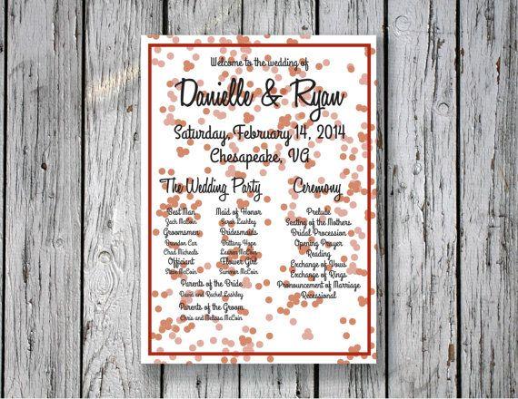 Bubbly Ceremony Program / DIY Printing by RejoiceGraphics on Etsy