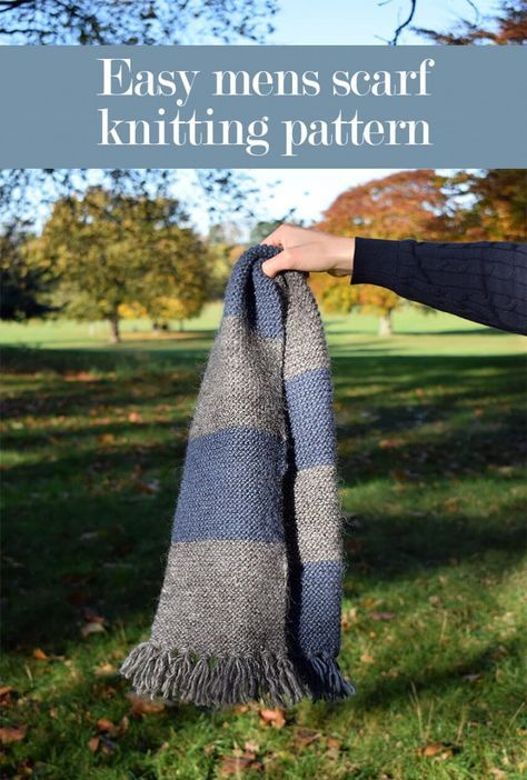 Easy mens scarf knitting pattern with striped detail #mensscarves