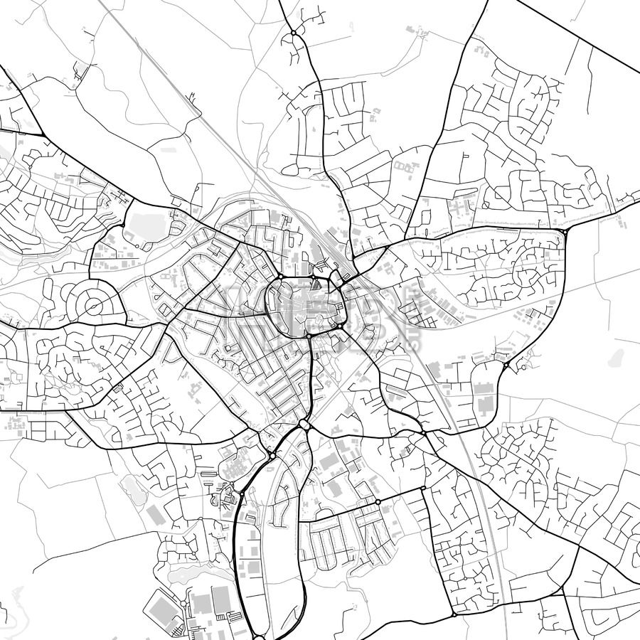 Downtown vector map of Nuneaton City vector Infographic and