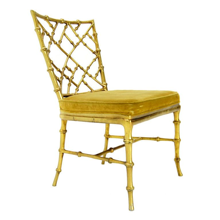 Faux Bamboo Gold Metal Frame Chair - Faux Bamboo Gold Metal Frame Chair Faux Bamboo, Side Chair And