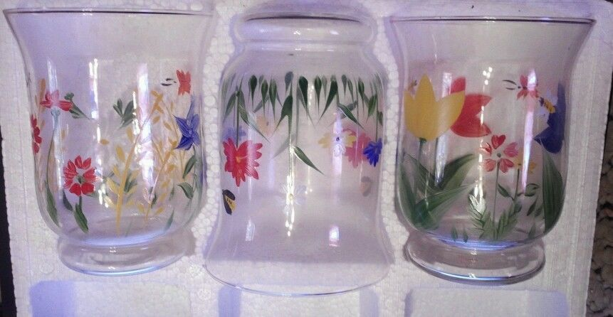 NEW IN BOX~9 PC SET HALLMARK GLASS FLORAL Large VOTIVE CANDLE HOLDERS picclick.com