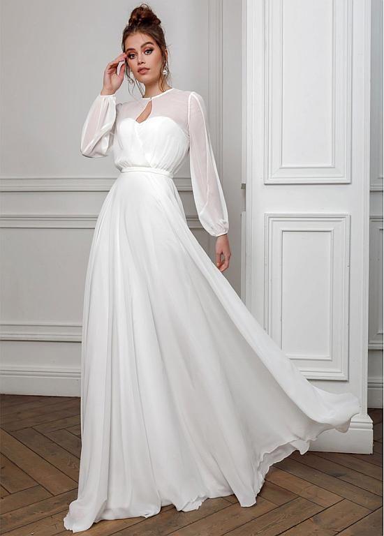 [153.19] Conspicuous Chiffon Keyhole Neckline A-line Prom/Evening Dresses - magbridal.com.cn