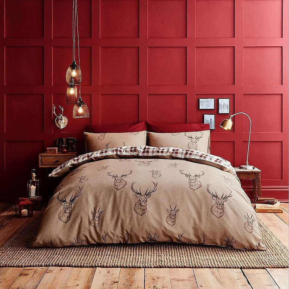 Catherine Lansfield Stag Natural Duvet Cover and