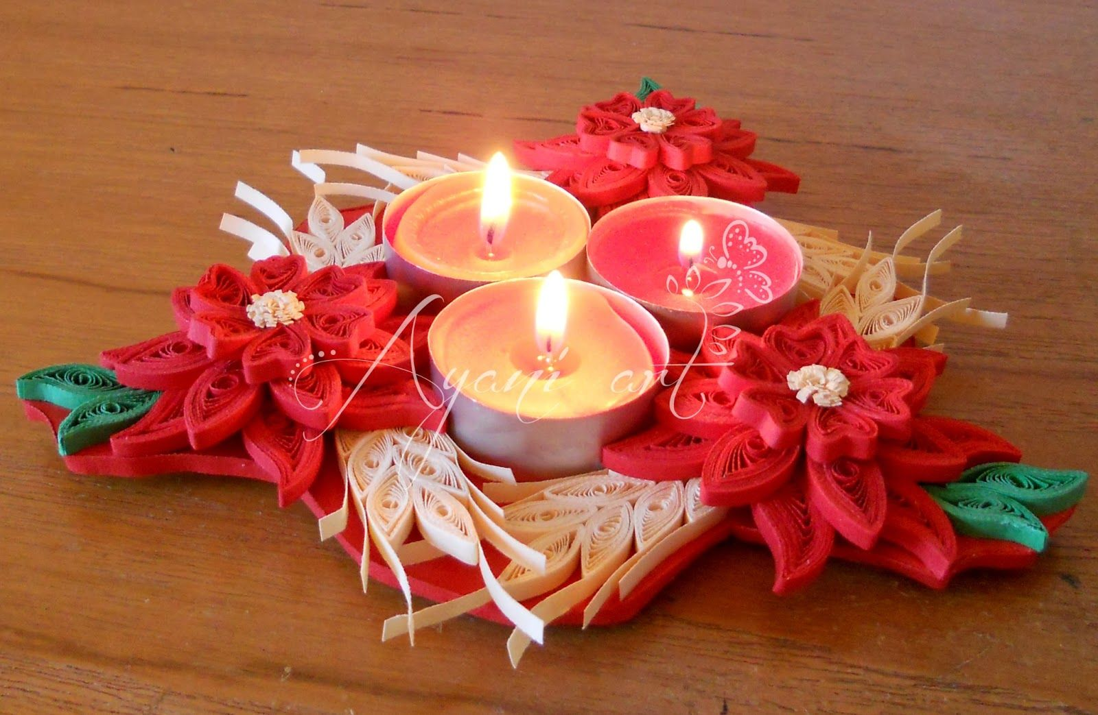 Tea light quilled table centerpiece - by: Ayani art - www ... - photo#42
