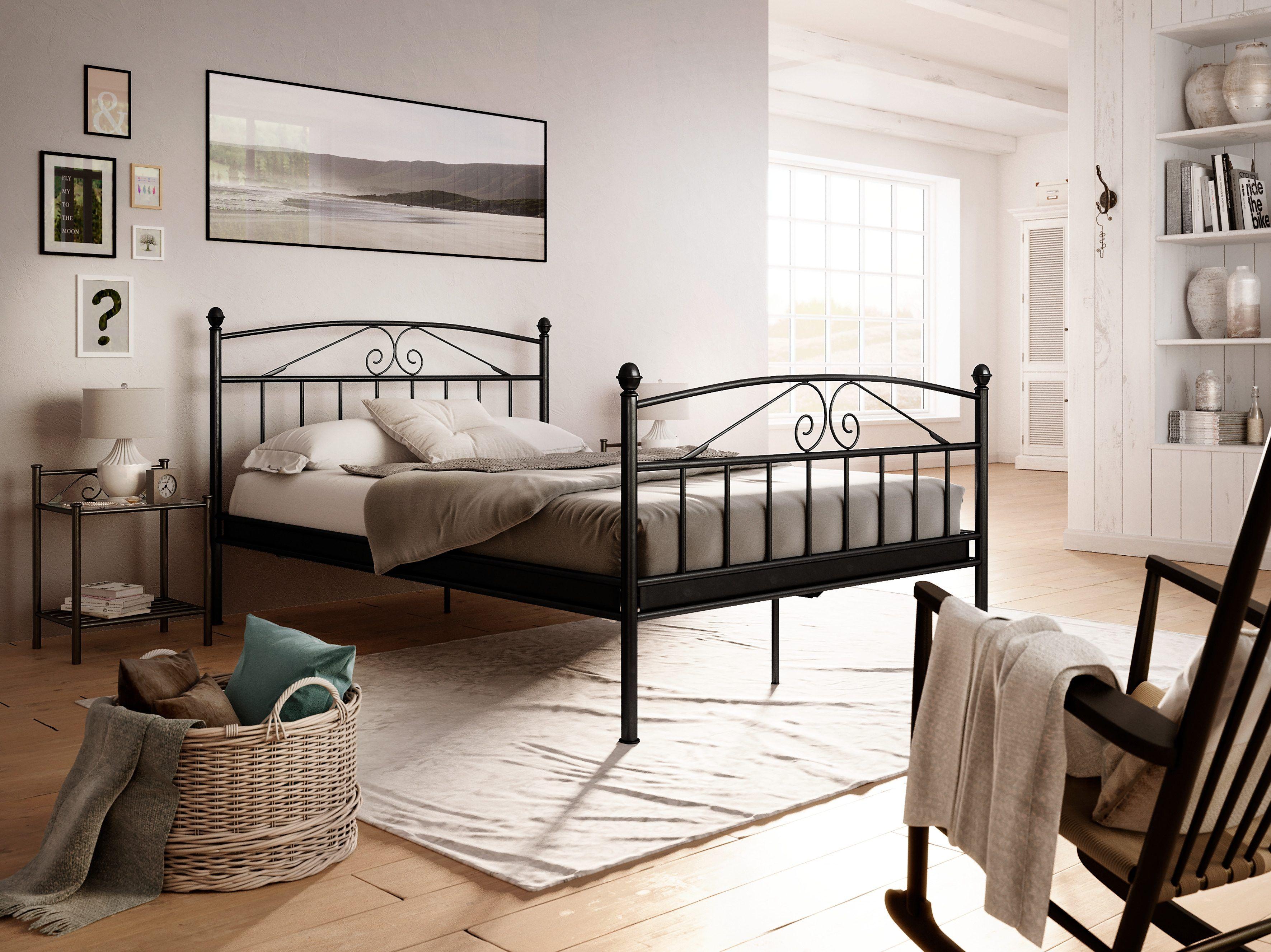 Romantisches schlafzimmer interieur home affaire metallbett birgit  bedrooms interiors and room
