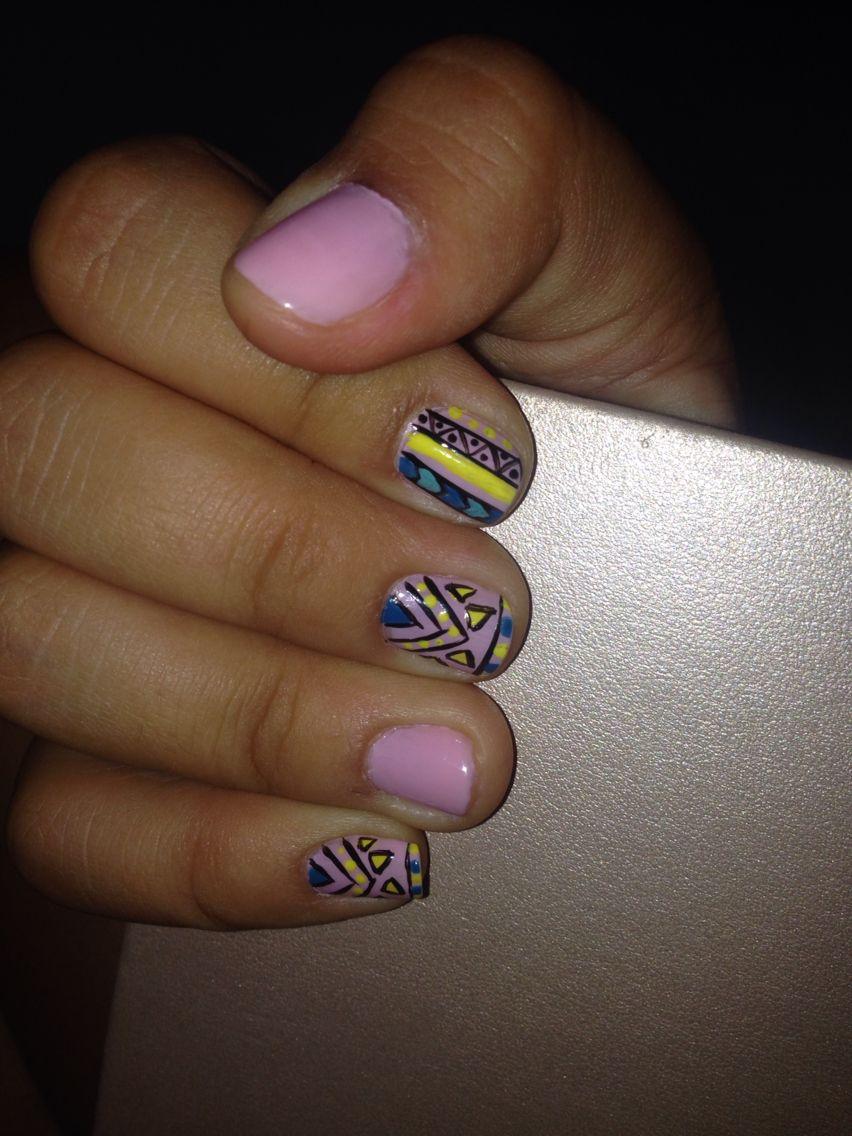 #tribal #nails #pink #rose